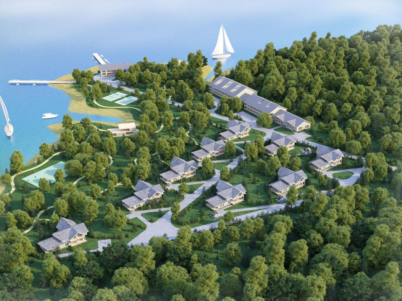 Проект и визуализация  турбазы на берегу р. Ахтуба