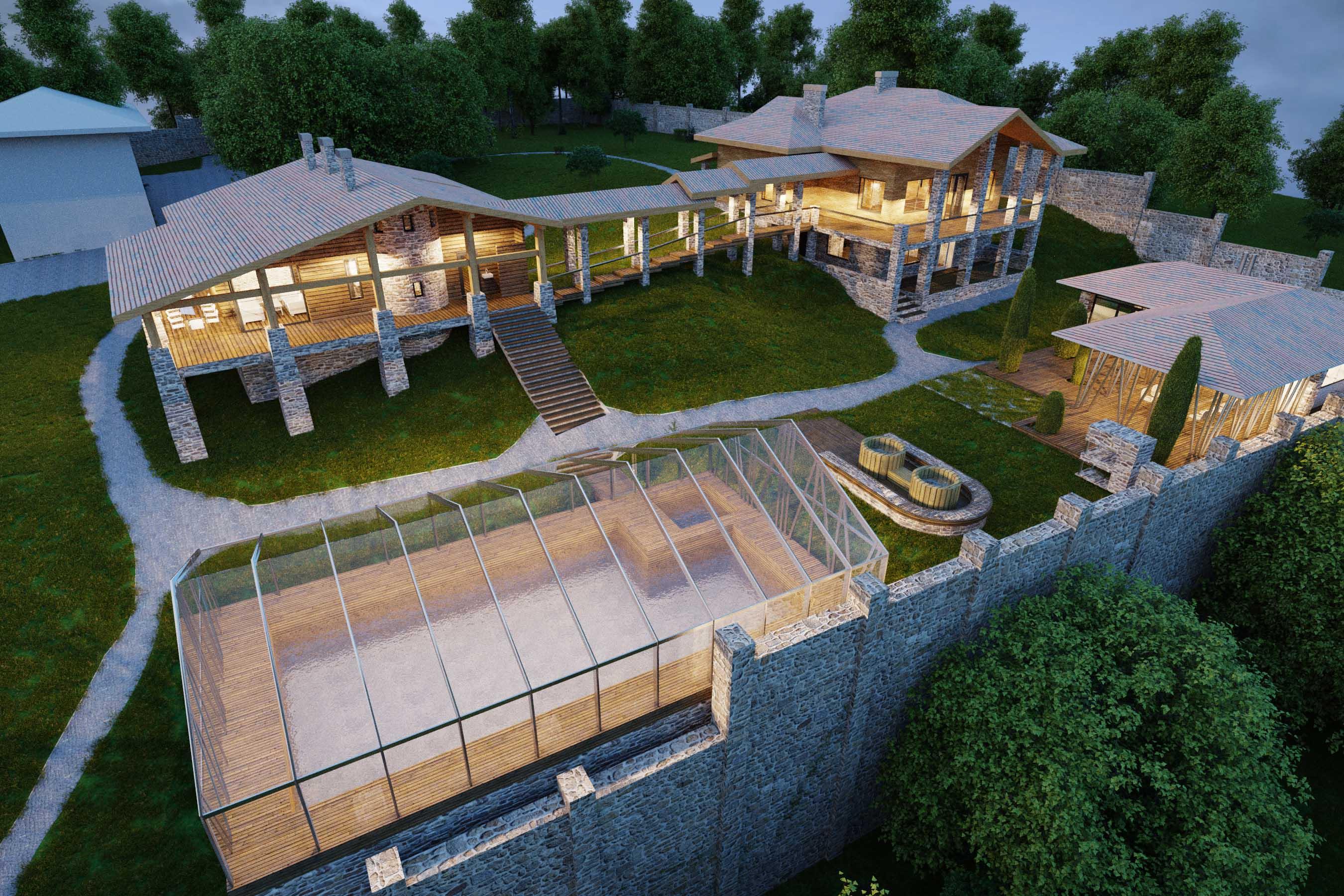 Проект и визуализация  частного спа-комплекса Ровенская область