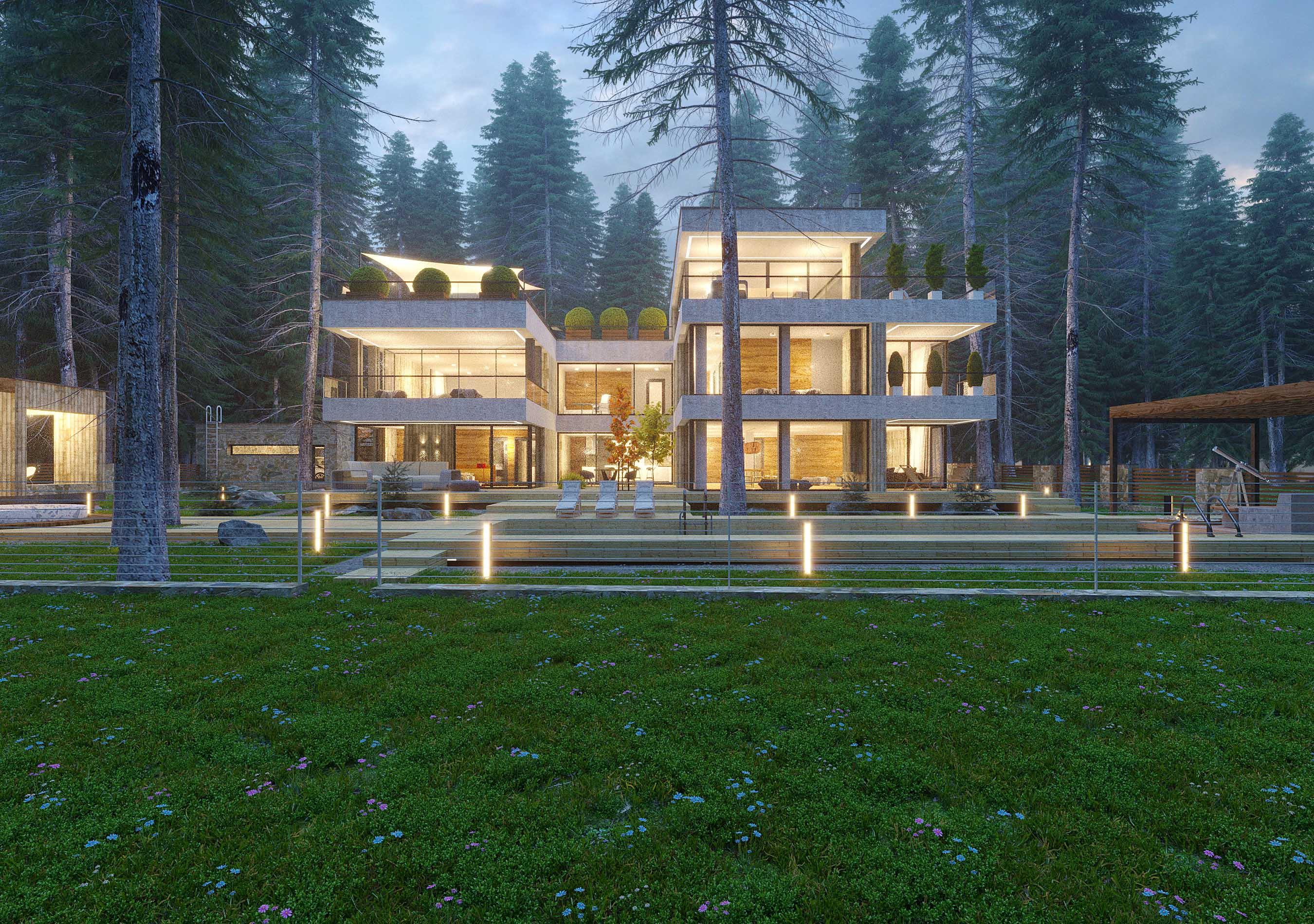 Проект и визуализация современного дома на берегу Лемболовского озера в Карелии