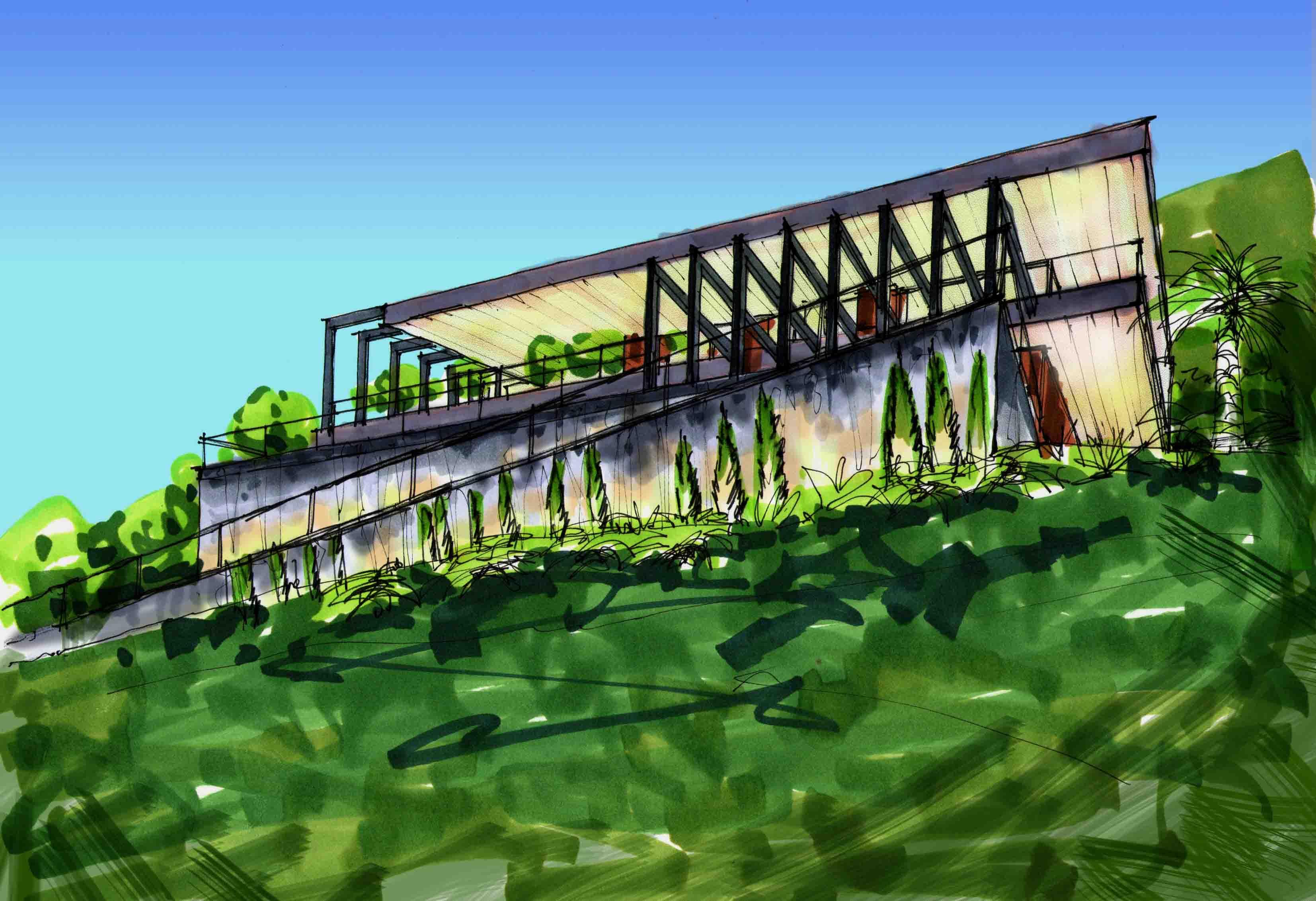 Скетч-концепция дома на склоне в Сочи