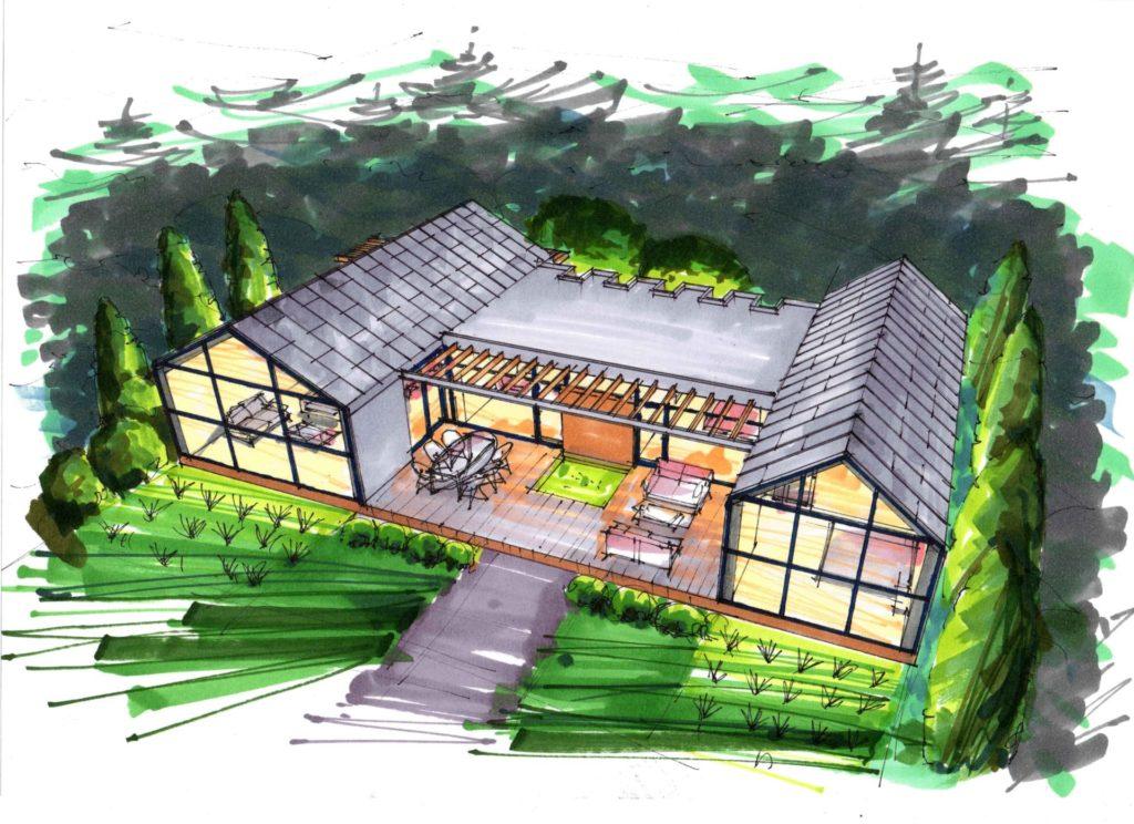 Фор-эскиз дизайна фасадов частного дома в небольшом французком городке